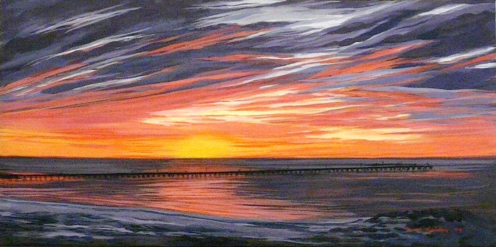 The Jetty at Sunset.  Acrylic on canvas 80x40x4cms 2009©  SOLD