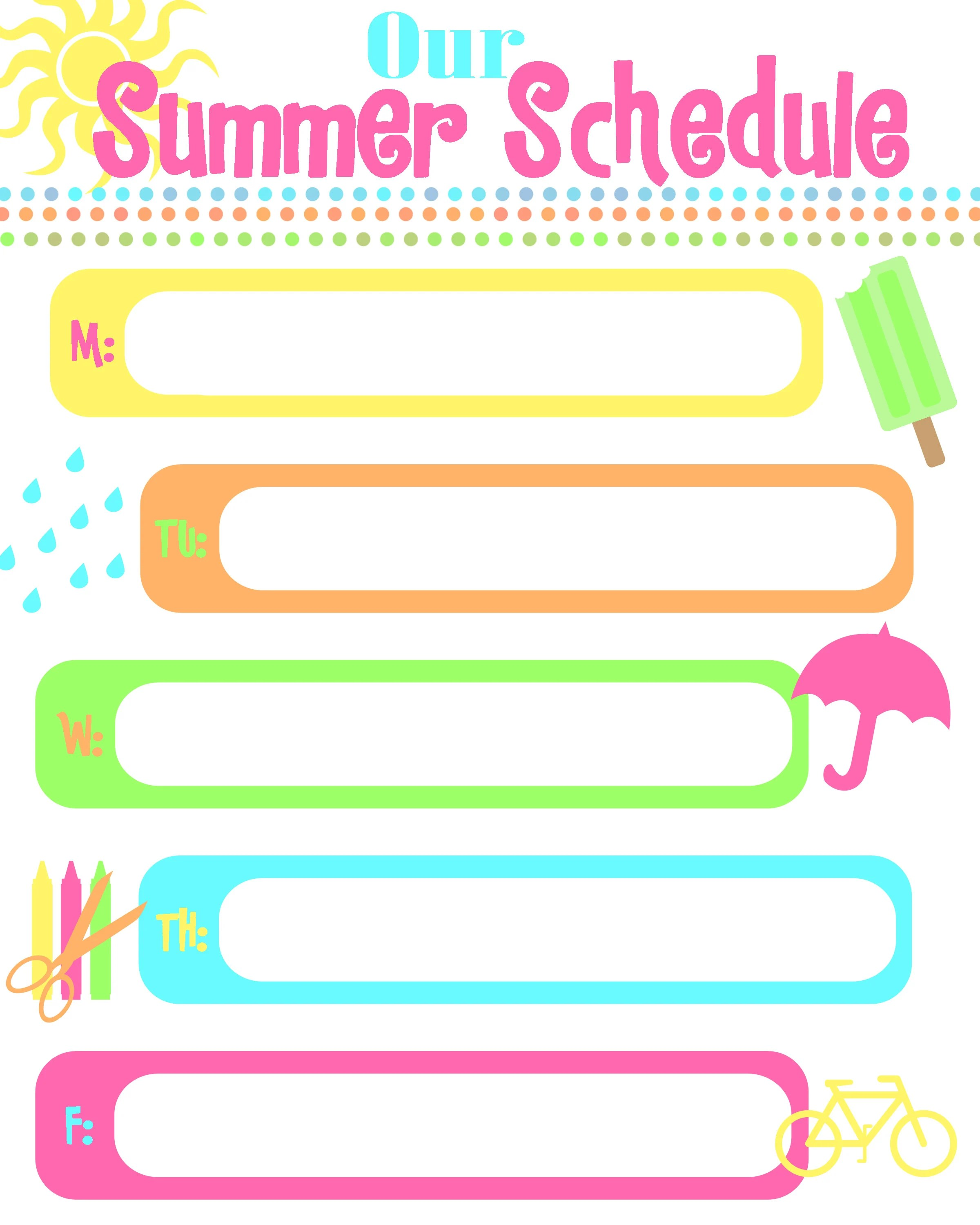 Summer Schedule How To Keep Kids Busy Free Printable