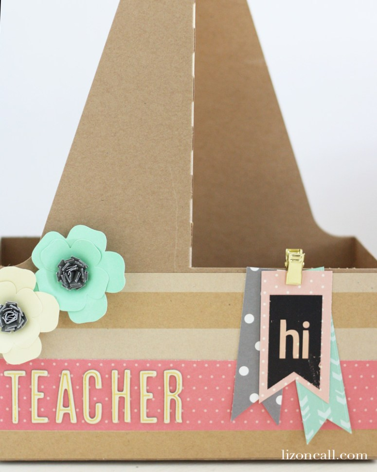 Create a fun back to school teacher gift with a recycled drink carrier and Jen Hadfield HomeMade collection
