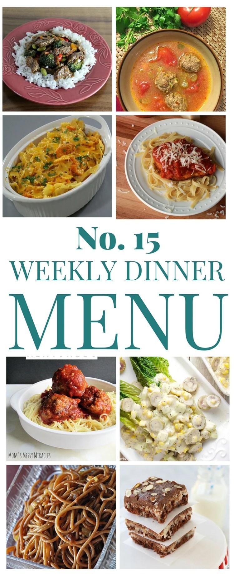 Weekly Menu Dinner Plan