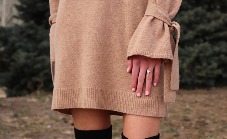 Madewell sweater dress with otk boots