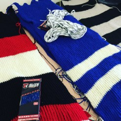 Knitted hockey sweaters will be wrapped around the tree trunks and laced on, to avoid puncturing the tree trunk.