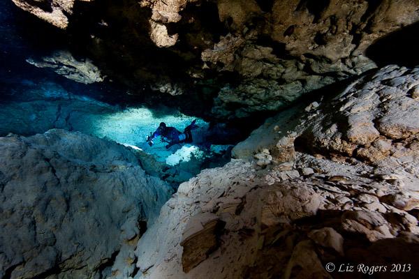 Diver in the rocks