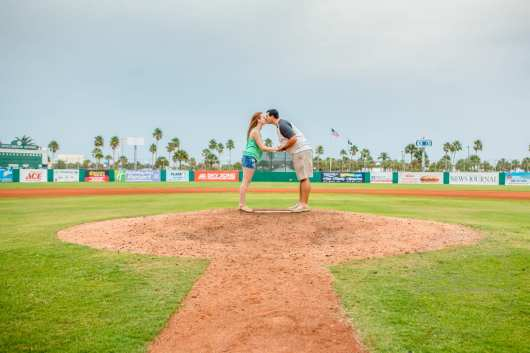 Cyndal and Nick Engagement Photography Daytona Beach Jackie Robonson Baseball 2
