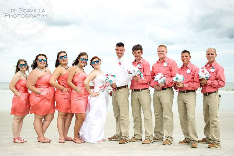 Pink and Teal Wedding Party