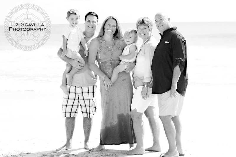 Three Generation Beach Photo Black & White