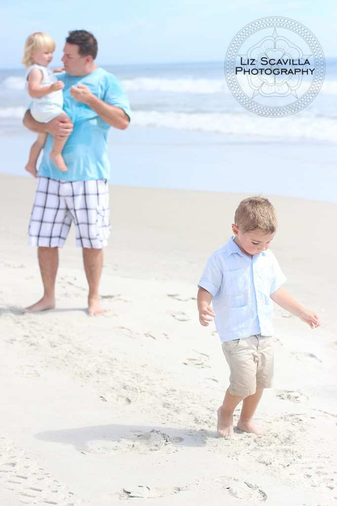 Father and Sons on Beach