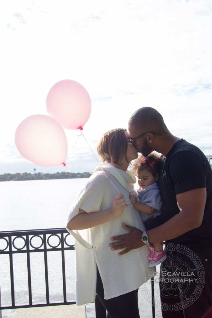 Pink Balloons Family Maternity Photo