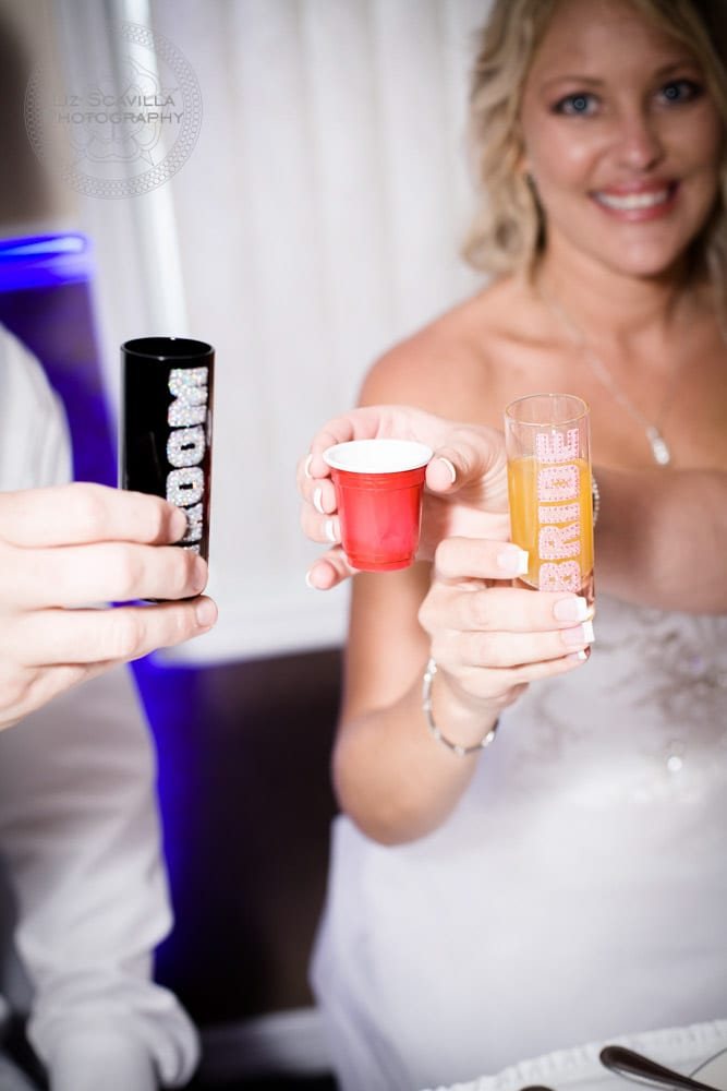 Red Solo Shot Cup Bride & Groom