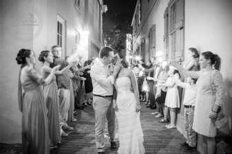 Sparkler Kiss After Reception Wedding Photo