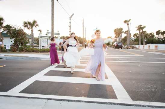 Bridal Party and Bride Crossing The Street