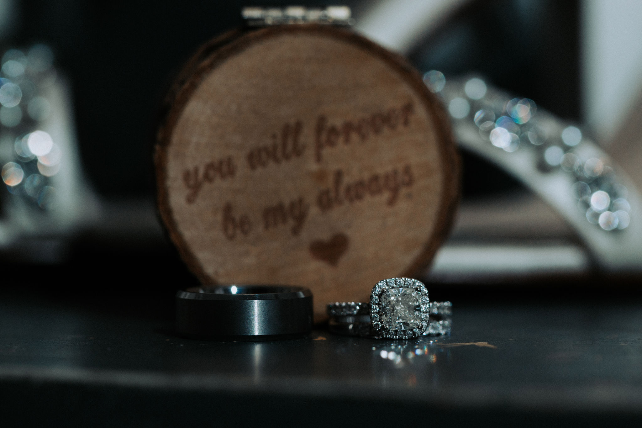You will forever be my always. A beautiful photo of the bride and groom rings.