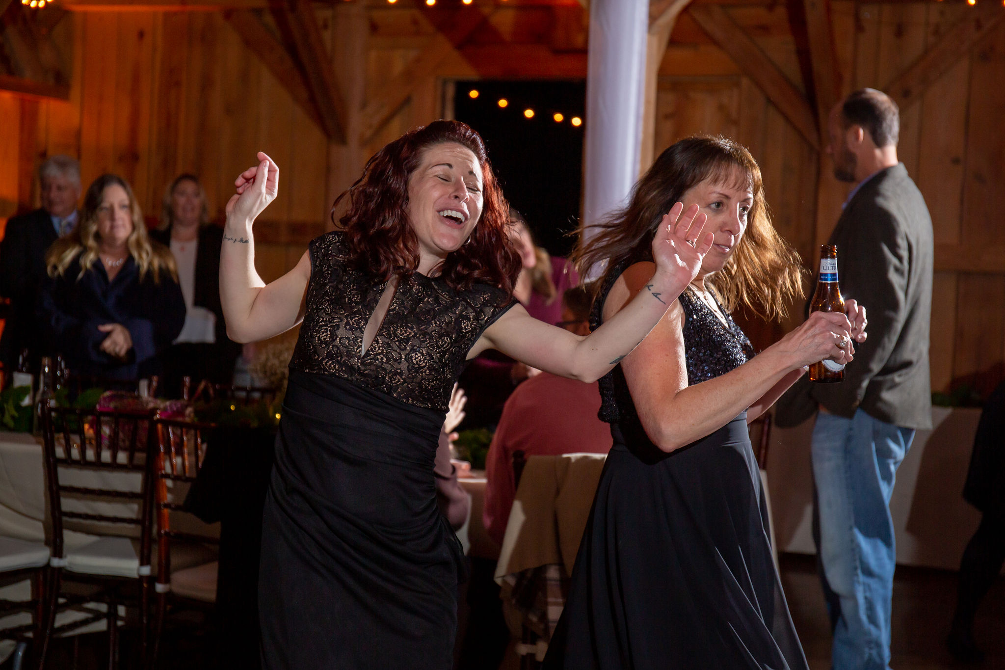 Some of the wedding guests breaking it down on the dance floor!