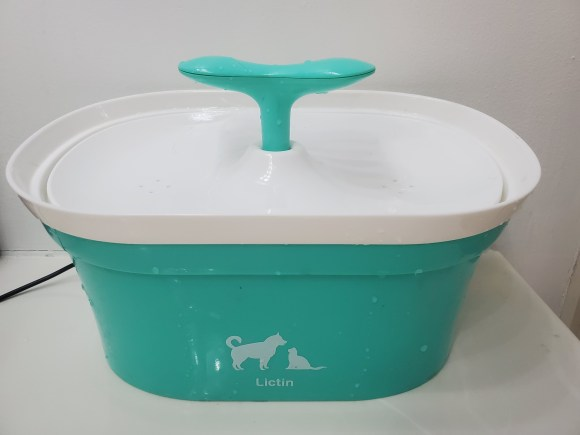 Teal and white cat water fountain