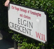 Elgin Crescent, where my novel begins