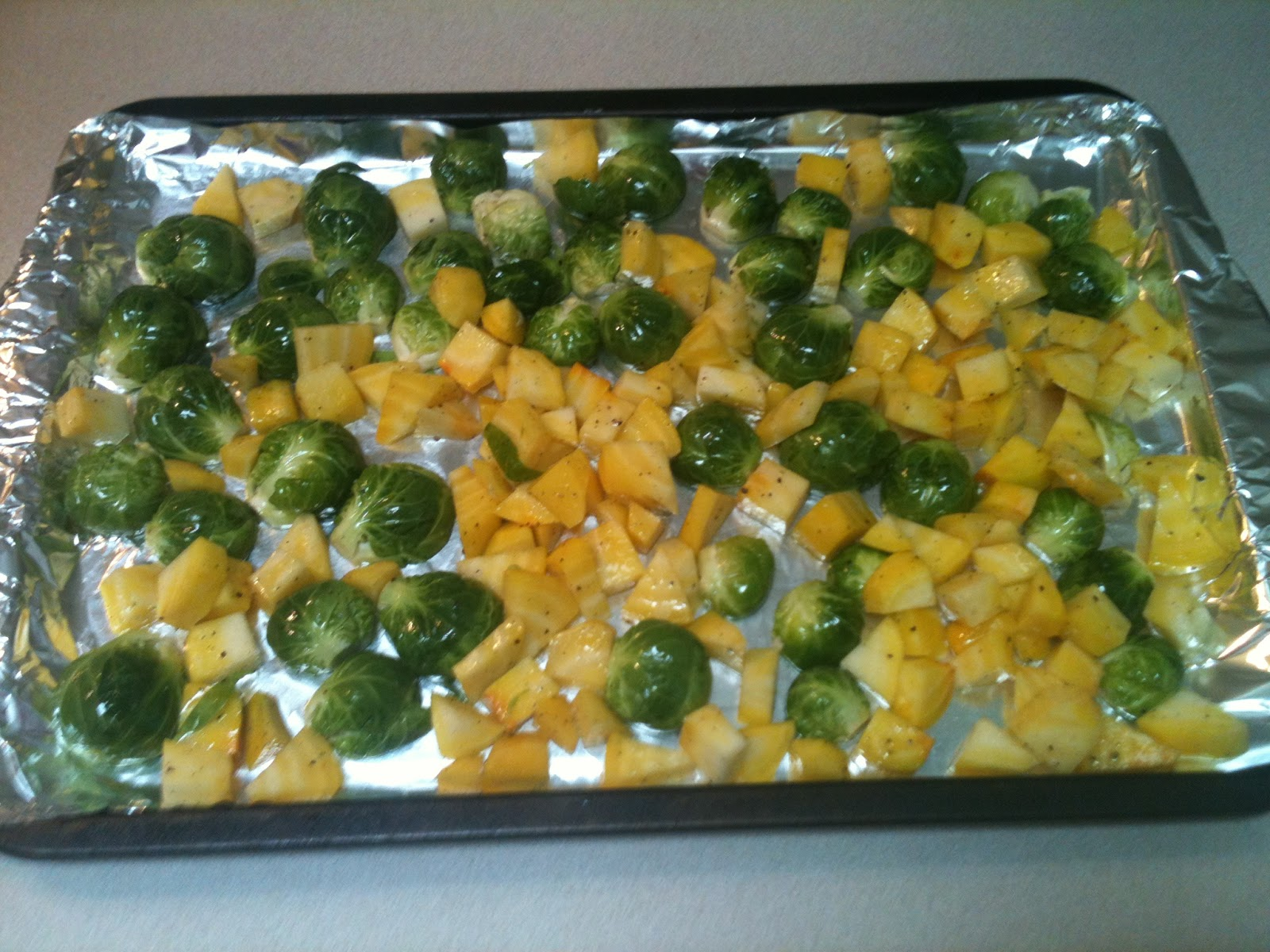 Roasted Brussels Sprouts and Beets
