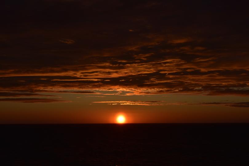 Stockholm Archipelago sunset over water.