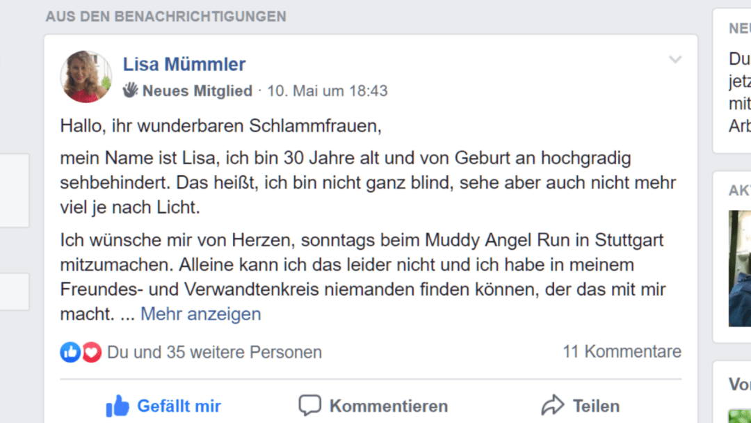 Scrrenshot meines Facebookposts