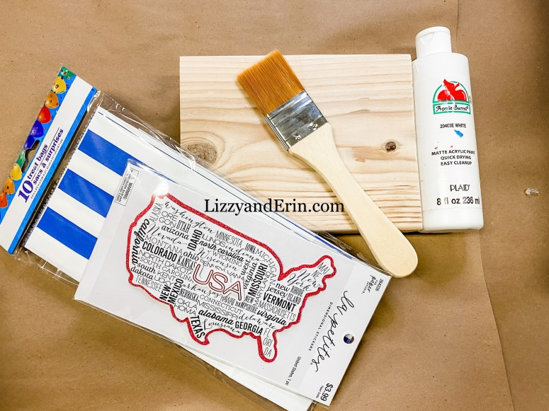 Supplies used for the USA Wood block shelf sitter.