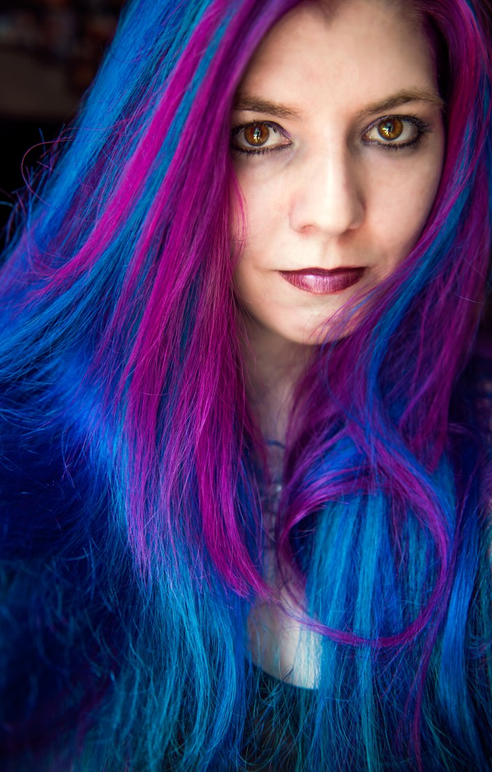 Deep blue hair with pink streaks. Manic Panic Rockabilly Blue, Manic Panic Atomic Turquoise, Manic Panic Hot Hot Pink