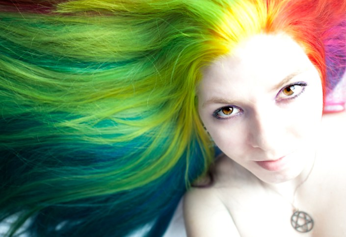 Long rainbow colored hair.