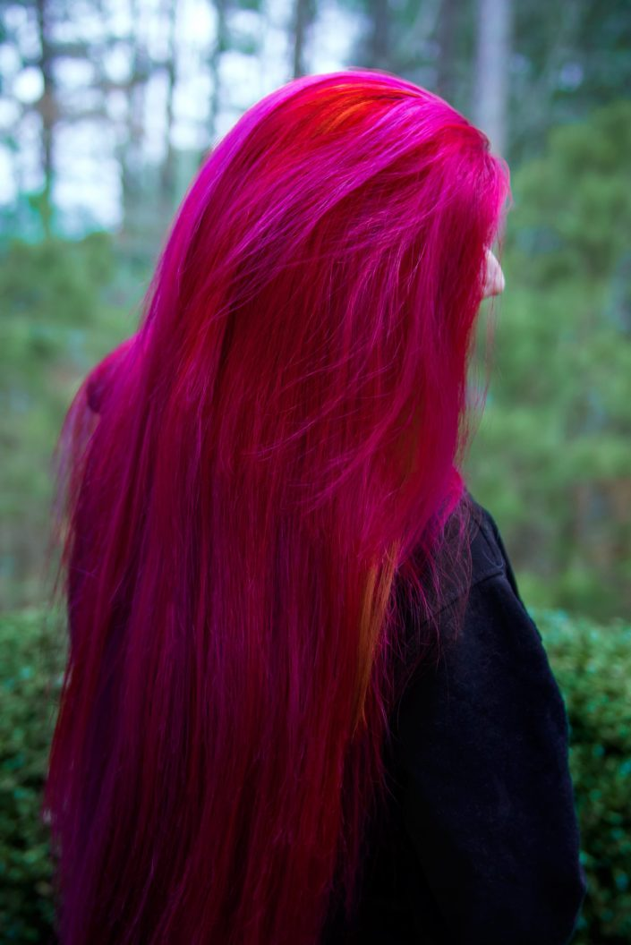Very long pink and red hair on Lizzy Davis. Manic Panic Hot Hot Pink.