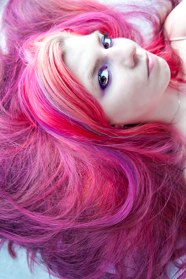 Pink hair with purple streaks dyed for valentine's day.