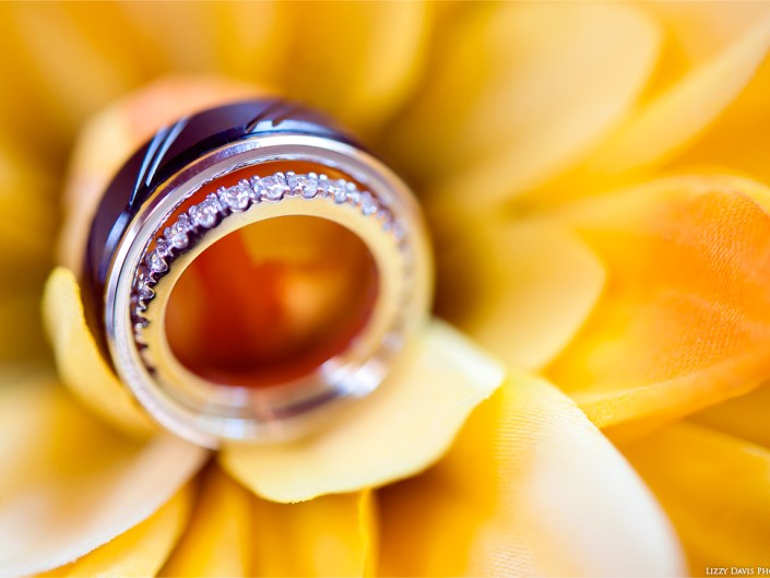 Macro photo of two wedding rings against a stunning vibrant yellow flower.