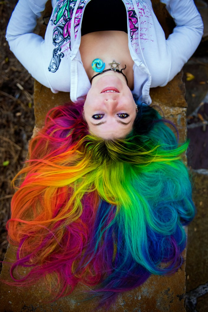 Vibrant rainbow hair by Lizzy Davis.