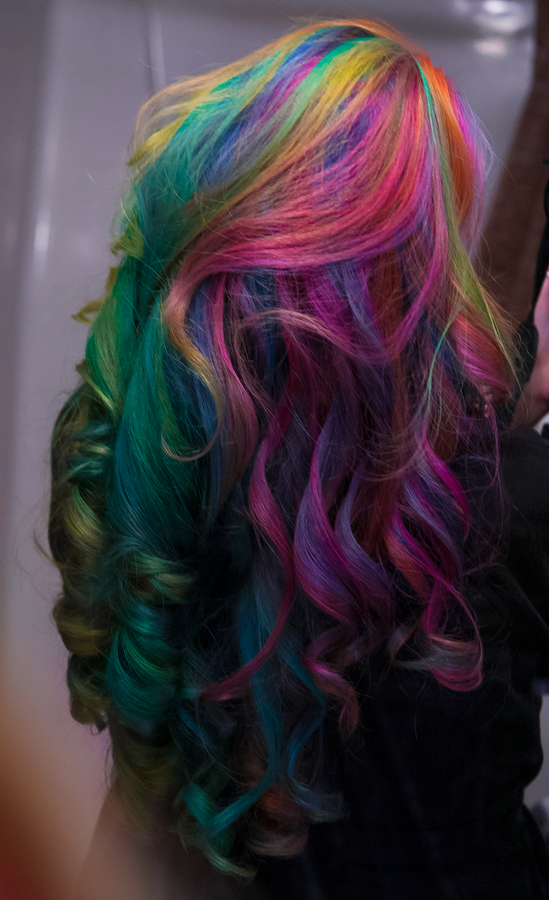 Long curled rainbow hair colors.