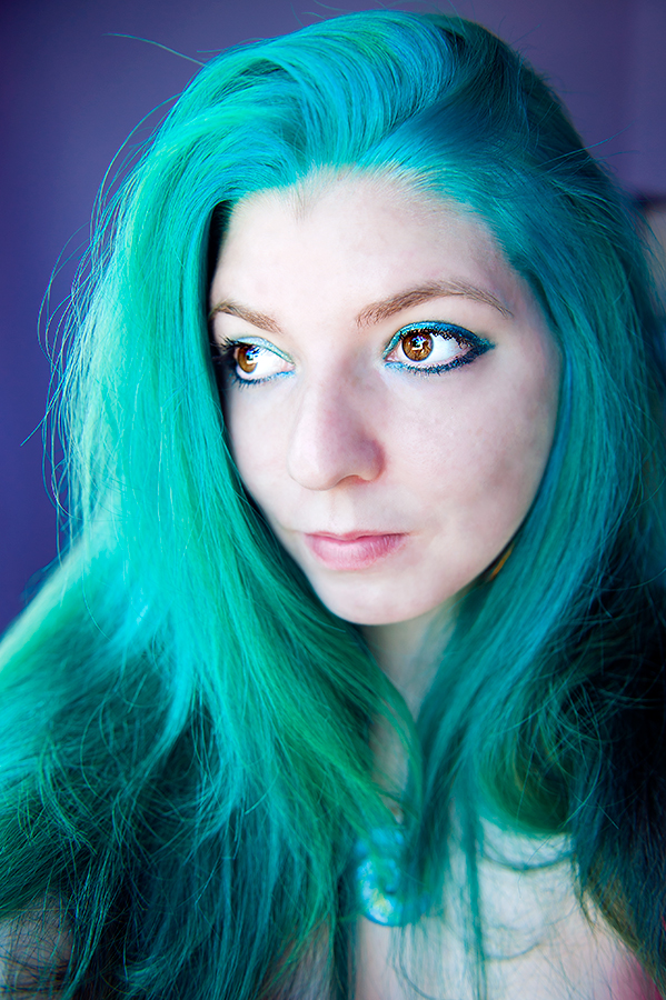Blue and green, teal and turquoise hair dye.