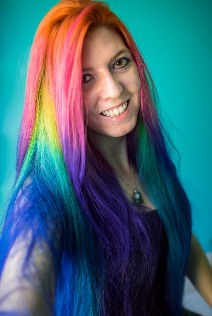 The girl with rainbow hair. Lizzy Davis.