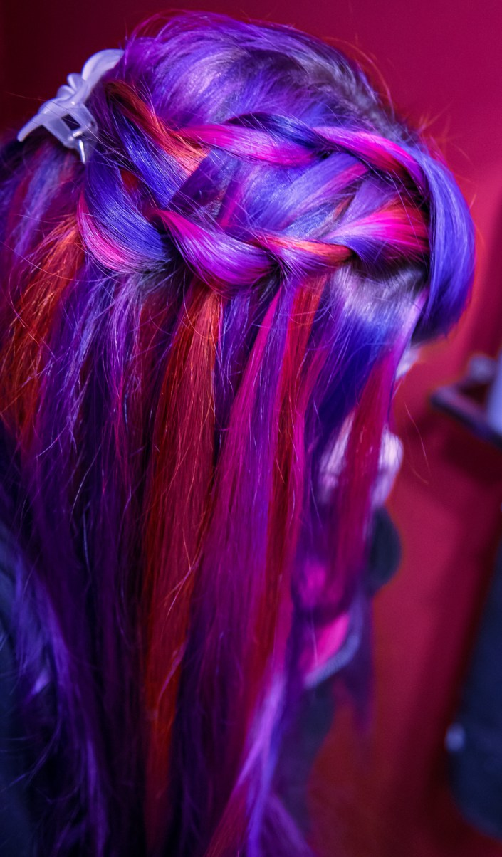 Braided purple and pink hair by Lizzy Davis. Manic Panic Deep Purple Dream, Manic Panic Hot Hot Pink, Manic Panic Psychedelic Sunset