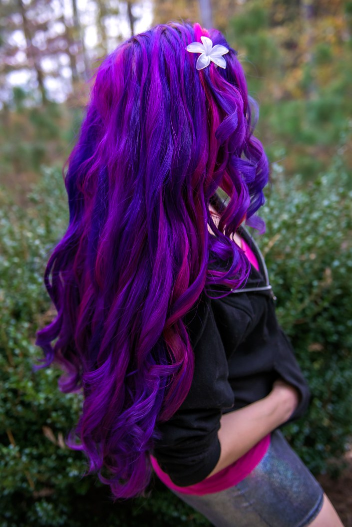 Curled purple and pink hair by Lizzy Davis using Manic Panic Deep Purple Dream and Manic Panic Hot Hot Pink.