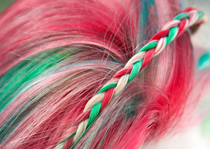 Red, white and green Christmas hair in a braid.