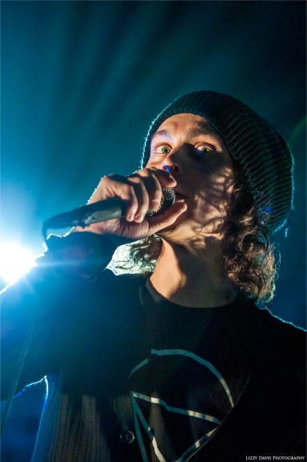 Ville Valo with wide eyes during a HIM concert in Greensboro, NC. ©Lizzy Davis Photography