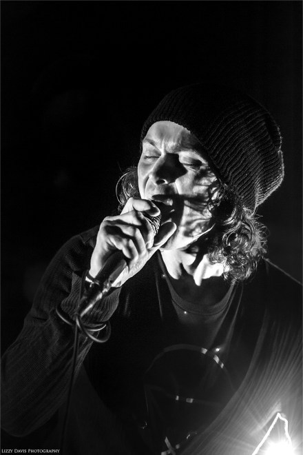Black and white concert photo of Ville Valo by ©Lizzy Davis Photography.