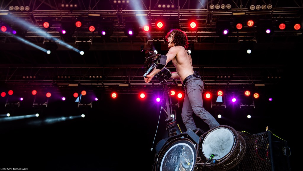 Nothing More vocalist Jonny Hawkins on their custom Scorpion Tail machine at Carolina Rebellion. ©Lizzy Davis Photography