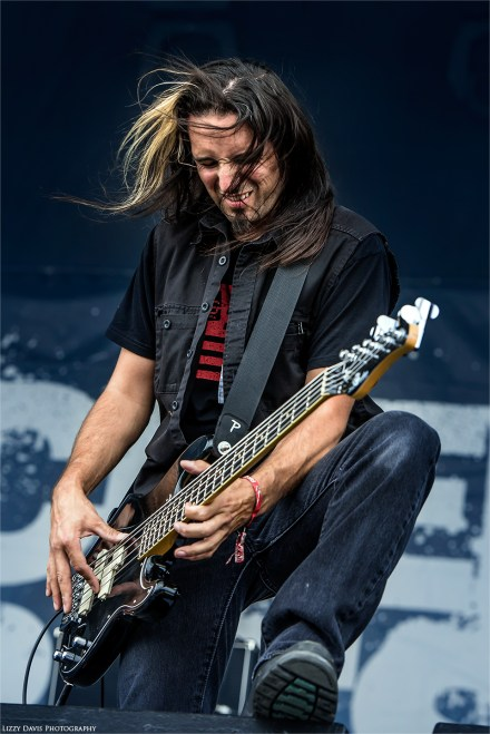 Butcher Babies bassist Jason Klein. Chicago Open Air photos by ©Lizzy Davis Photography.