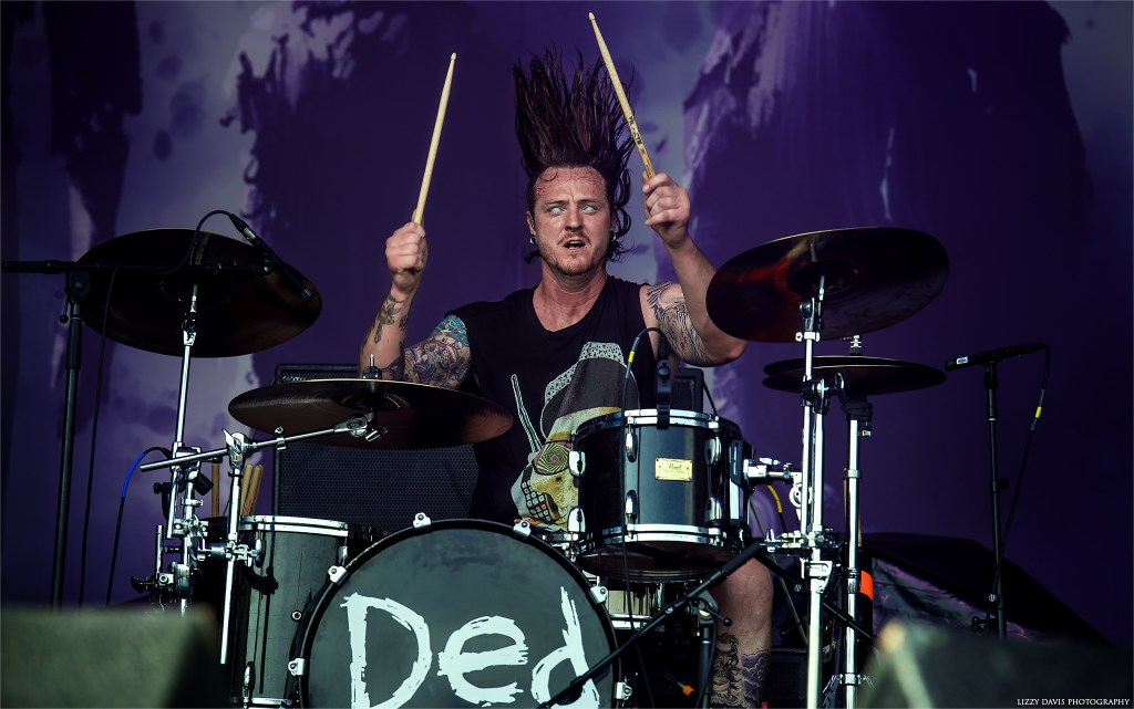 Drummer hair flip! Matt Reinhard of DED at Rock on the Range 2017.