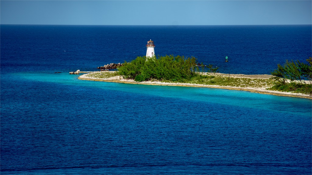 Hog Island Lighthouse view from port in Nassua, Bahamas. Photo by Trevor Williams.
