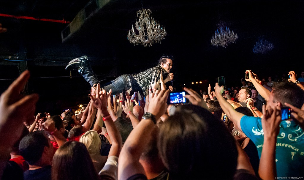 Filter frontman Richard Patrick crowdsurfing at The Fillmore in Charlotte, NC.