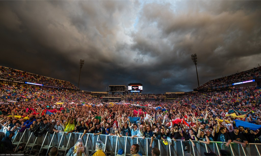 Huge crowd braving a storm while waiting for Metallica at Rock on the Range 2017.