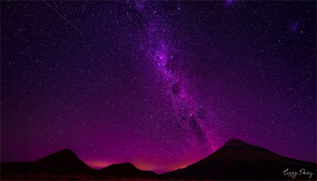 Milky Way over Mount Taranaki, New Zealand. | Travel and landscape photography by Lizzy Davis.