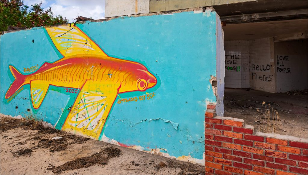Colorful graffiti on abandoned walls of Paradise Hotel. in Barbados