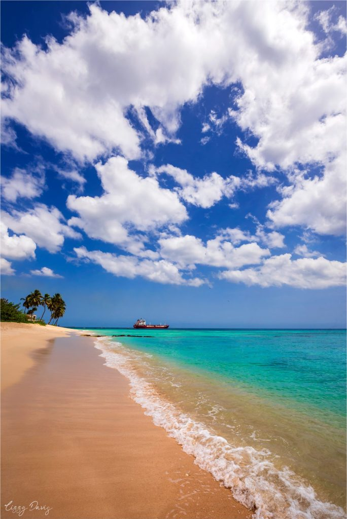 Looking south down Paradise Beach in the Caribbean Island of Barbados.