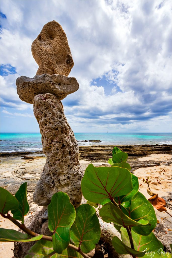 Standing stone sculpture on Paradise Beach, Barbados