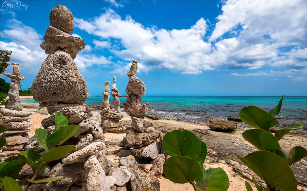 Unique standing stones art installment by Philip King of Barbados.