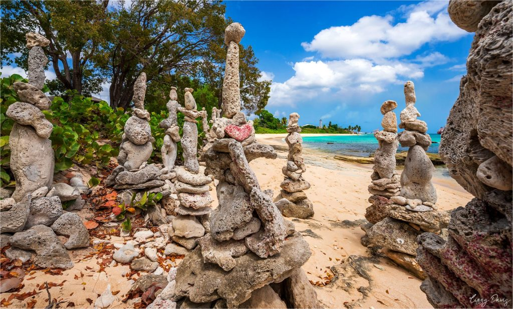 The unique Standing Stones on Paradise Beach, Barbados.