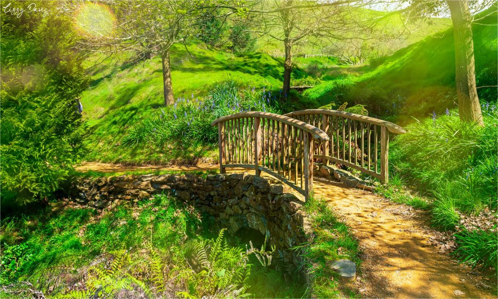 A small wooden bridge leading out of away from the main center of Hobbiton.